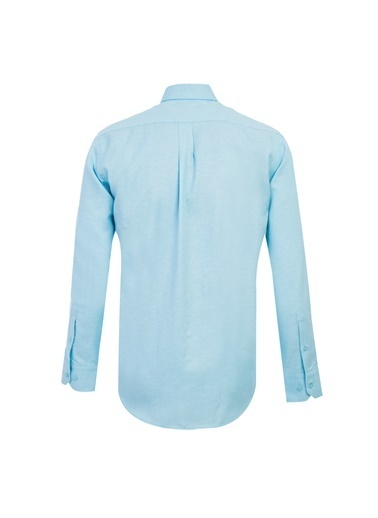 Kiğılı Uzun Kol Regular Fit Oxford Gömlek Mavi